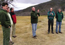 Danny Cochran talking to participants at feral horse workshop, near Dead Horse Gap.