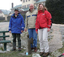 L to R: Matt Holland (Ranger Buffalo), Peter Jacobs (Chief Ranger Alps), Felicity (Ranger In Charge Buffalo) welcomed the angel of Hope on a very cold wet snowy day at Mt Buffalo.