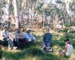 Friends of the Cobberas, L-R: Paula Tumino, Mike Dower (Parks Victoria), Pam Chynoweth, Geoff Mattgingley and Christine Edwards