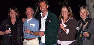 Past Australian Alps national parks Program Managers  (L to R, and in the order they occupied the position): Janet Mackay, Neville Byrne, Brett McNamara, Virginia Logan and Gill Anderson toast the Alps