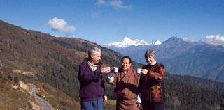 At Mt Jomalhari with travelling companion, Kelzang Tshering.