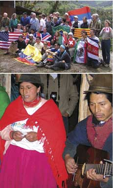 Bottom: Highland Quechua indians singing to workshop participants (top) at their village ecotourism project.